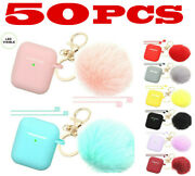 Wholesale 50 Pcs Lots Lot Airpods Silicone Case Fur Ball Keychain F Airpods 1/2