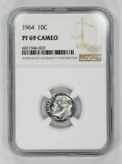 1964 Proof Roosevelt Dime 10c Ngc Certified Pf 69 Uncirculated - Cameo 023