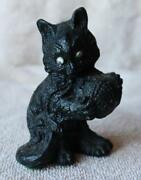Cat-kitten Figurine Black Painted With Google Eyes And Yarn Ball Resin Figurine