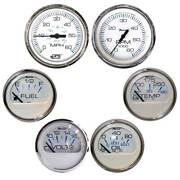 Faria Chesapeake White W/stainless Steel Bezel Boxed Set Of 6 - Speed Tach Fue