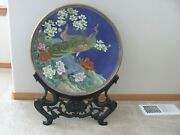 Large Vintage Chinese Cloisonne Charger Plate - Peacock Design