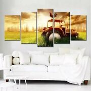 Farm Tractor Rooster 5 Panel Canvas Print Wall Art Poster