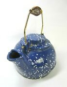 Cast Iron Blue Enamel Speckleware Wood Stove Top Water Kettle Good++ Cond.