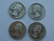 1942, 1944, 1945 And 1948 Lot Of 4 Silver Washington Quarters