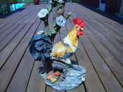 Rooster Chicken Farm Accent Pedestal Side Table Plant Stand Key West Tiki Bar