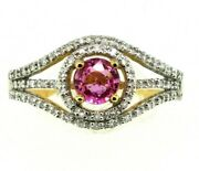 Ring Hot Pink Sapphire And Diamond Pave Halo Split Shank .80 Ctw 18 Kt Gold Size 7