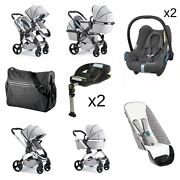 Icandy Peach 5 Twin Chrome Chassis Pushchair With Car Seats And Bases - Dove Grey