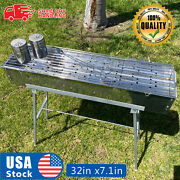 32 Party Griller Stainless Steel Charcoal Grill Yakitori Bbq Garden Lamb Kebab