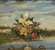 American 19th C. Primitive Folk Art Oil Painting Landscape With American Flag