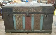 Antique Dome Steamer Trunk Metal W Tray Insert 30 Tall 19 Long 14 Deep Oldie