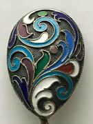 Russian Imperial Silver 88 Cloisonne Enamel Spoon A.gorianov For Faberge Antique