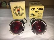 Pair Of Vintage Kd Lamp Co. Red Marker Lights Kd 508 New In Box