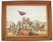 Custerand039s Last Stand Battle Of Little Bighorn Painting Oil On Canvas 40x30 Framed