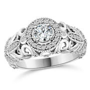 Solid 14k White Gold 3/4ct Vintage Diamond Engagement Ring