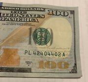 2017 A Series 100 Bill Fancy Trinary Serial Number Pl 42404402 A