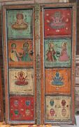Antique Old Hand Painted Doors Indian God Goddess Tantra Paintings Frame Decor