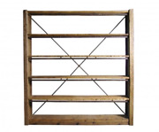 C Andndash Antique Wooden Shelf Wrought Iron. A3153