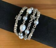 Michael Dawkins 925 Sterling Silver 4 Row Gray And White Pearl Bracelet 7.5