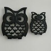 2 Vintage Metal Cast Iron Owl Trivets - 3x4 And 5 1/2x5