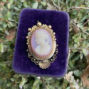 Rare Hard Stone Banded Agate Victorian Cameo Pendant And Brooch 14k Yellow Gold