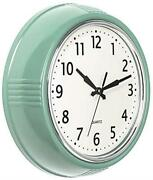 Bernhard Products Retro Wall Clock 9.5 Inch Green Kitchen Assorted Colors