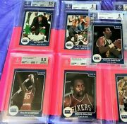 6 1985 Star Co Lite Miller All Bgs 8/ 8.5 Moses Malone George Gervin Riley Pat