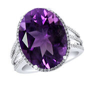 Amethyst And Diamond Solitaire With Accent Band Ring 14k White Gold