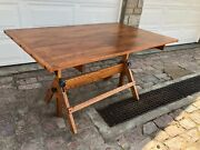 Antique Wooden Drafting Table 37-1/2 X 60 Hamilton