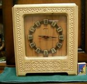 Vintage Rare Beautiful Old Fine Natural Wood Wooden Hand Made Carved Clock Ussr