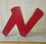 Reclaimed Industrial Red And Gold Letter N Salvaged Decor Marquee Sign