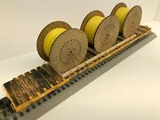 Atlas Trainman Custom Load With 3 Yellow Natural Gas Cable Reels Chained O Scale