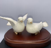 Fine Porcelain Mikasa Gold And White Gilded Dove Pair Figurines With Wood Base
