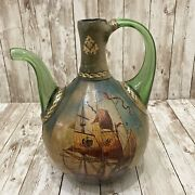 Vintage Italian Green Glass Wrapped Decanter Wine Bottle Galleon Ship Sailing