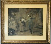 Large Antique Lithograph Print Victorian Gesso Frame Matted And Signed