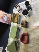 Vintage Dollhouse Furniture Victorian Doll House Accessories Lot Of 8
