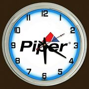 16 Piper Aircraft Airplane Sign Lock Haven Pa Sign Blue Neon Clock