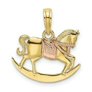 Real 10k Two-tone 2-d Rocking Horse W/ Saddle Charm Women And Men