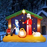 Yunlights 6.5ft Christmas Inflatable Nativity Scene Blow Up Led Light Christm...