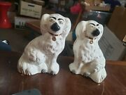 Vintage Pair Beswick English White Dog Statues - 8 Inch