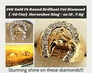 14k Solid Gold 14 Round Brilliant Diamond Horse Shoe Ring Size 10
