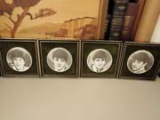 1960's Framed Beatles Wall Plaques, B And W Photo's On Porcelain,