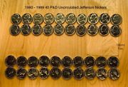 1980 -1989 And1990-1999 40 Pandd Uncirculated Jefferson Nickel Coin Set
