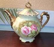 Lefton Heritage Tea Pot Hand Painted China 24 Kt. Gold Gilded W/roses