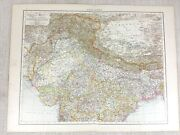 1898 Antique Map Of India Northern British Indian Empire 19th Century Victorian