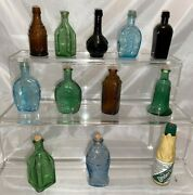 Lot Of 12 Vintage Mini Apothecary Bottles Colored Glass Ink Jars, Assorted Brand
