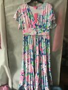 Nwt Lilly Pulitzer Jessi Midi Dress Peony For Your Thoughts Xl Free Shipping