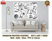 Vintage Style Black And White World Map Large Poster Art Print Gift A0 A1 A2 A3