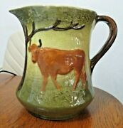 Antique Vintage Roseville Pottery 7 Stoneware Yellow Ware Pitcher Cows W3