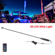 1x 3ft Lighted Rgb Whip Light W/flag For Utv Truck Atv Accessories Can-am Remote