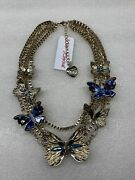 Betsey Johnson Butterfly And Critters Rhinestone Stone Necklace Nwt Rare